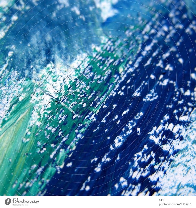 Farbspuren II Pinselstrich Gemälde Kunst mehrfarbig Ton-in-Ton grün weiß türkis Kunsthandwerk Farbe streichen Kreativität blau