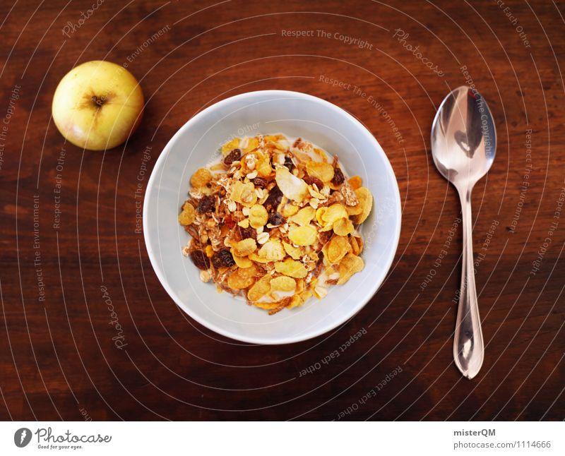 Start in den Tag. Kunst ästhetisch Müsli Schalen & Schüsseln Frühstück Frühstückstisch Frühstückspause Löffel Apfel Tisch Foodfotografie Gesunde Ernährung