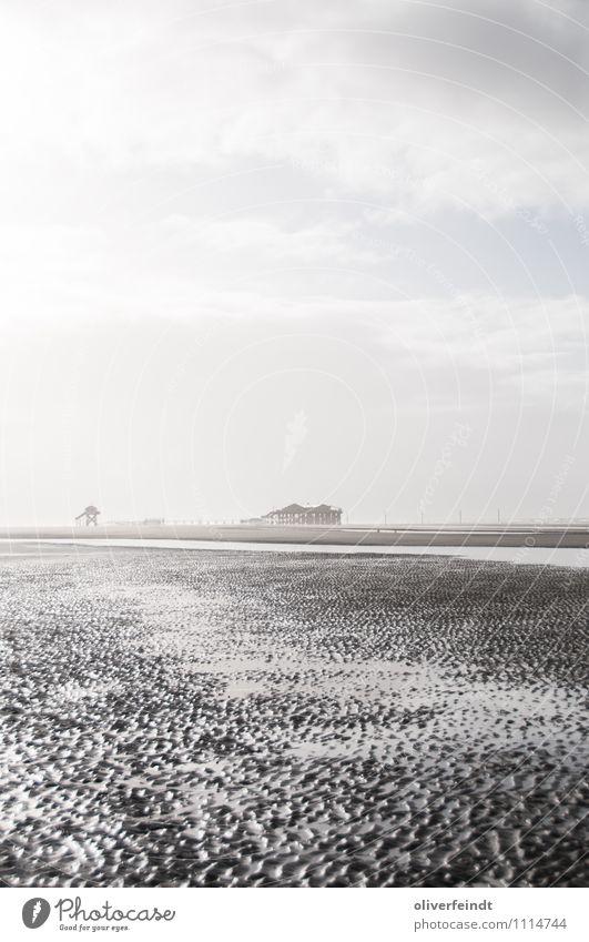 St. Peter Ording Ferien & Urlaub & Reisen Ausflug Ferne Freiheit Sonne Strand Meer Umwelt Natur Erde Sand Wasser Himmel Wolken Horizont Sonnenlicht