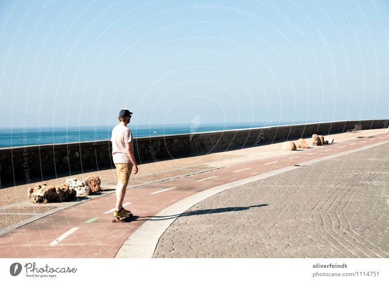 San Sebastian Freizeit & Hobby Ferien & Urlaub & Reisen Ausflug Ferne Freiheit Sommerurlaub Meer Sport Skateboard Longboard Mensch maskulin Junger Mann