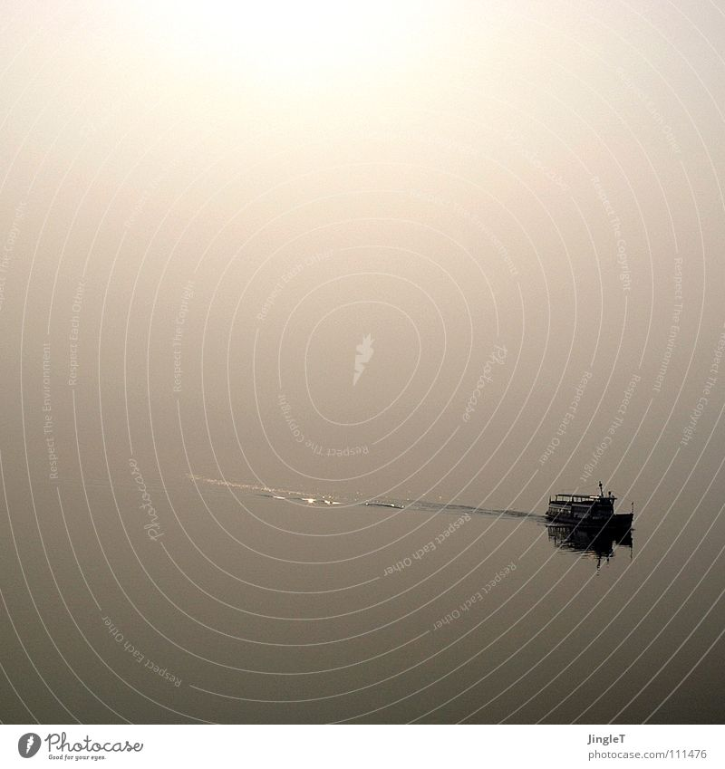 Stille ruhig Ferne Erholung See Stimmung Nebel Unendlichkeit Italien genießen Wasserfahrzeug Erinnerung Glätte Fähre sentimental Lago Maggiore Cannero Riviera