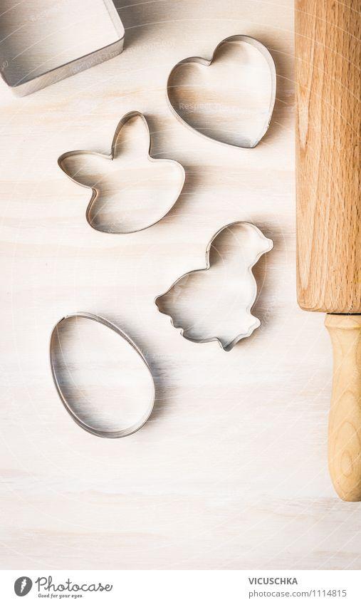 Ostern Kekse backen Ernährung Geschirr Lifestyle Stil Design Freizeit & Hobby Haus Tisch Küche Feste & Feiern Zeichen Herz Freude Tradition Hintergrundbild