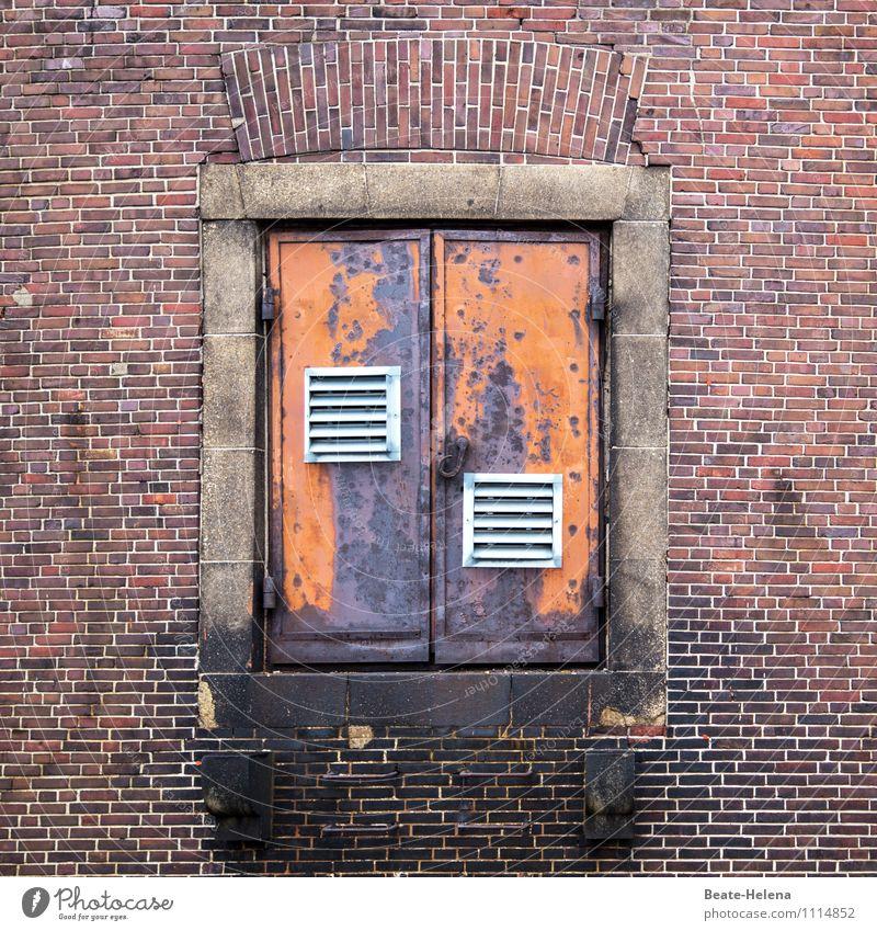 Ein-Blick in die Speicherstadt weiß rot dunkel Wand Architektur Gebäude Mauer außergewöhnlich Fassade Metall Tür Ausflug Abenteuer Hamburg