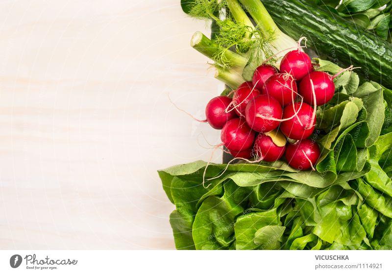 Frische Bio Gemüse Lebensmittel Salat Salatbeilage Ernährung Mittagessen Abendessen Bioprodukte Vegetarische Ernährung Diät Stil Design Gesunde Ernährung Natur