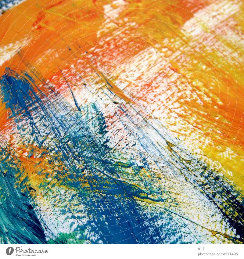 Farbspuren III Pinselstrich Gemälde Kunst mehrfarbig gelb grün rot weiß Hintergrundbild zusätzlich Gegenteil Kunsthandwerk Farbe Kraft streichen Kreativität