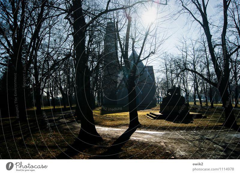 Kirchplatz Natur Sonne Baum dunkel Umwelt Wege & Pfade Gras Gebäude Religion & Glaube Deutschland Park leuchten Idylle Sträucher groß Kirche