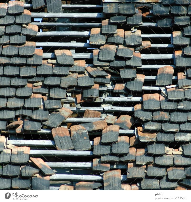 lockere Deckung alt grau Dach Kultur Vergänglichkeit verfallen Verfall Ruine Loch durchsichtig beweglich horizontal Deckung Dachziegel luftig
