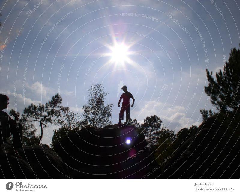Geistesblitz Frankreich Außenaufnahme Spielen Fontainbleau Sonne Himmel Shiluette Mensch Idee