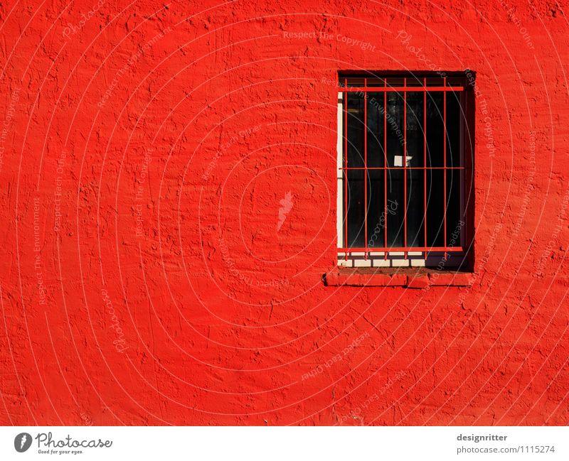 Wutgefängnis Haus Justizvollzugsanstalt Gitter Fenster Putz Aggression bedrohlich Krankheit Stadt rot Sicherheit Schutz Schmerz Angst gefährlich Eifersucht