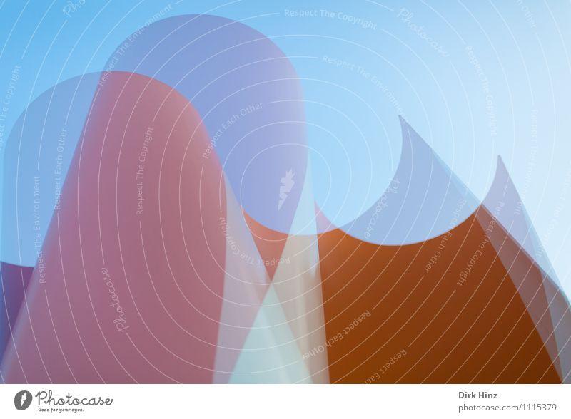 versetzt Kunst Kunstwerk Skulptur Architektur blau grau orange elegant rund Stil Design Linie ästhetisch außergewöhnlich eckig Spitze einfach Doppelbelichtung