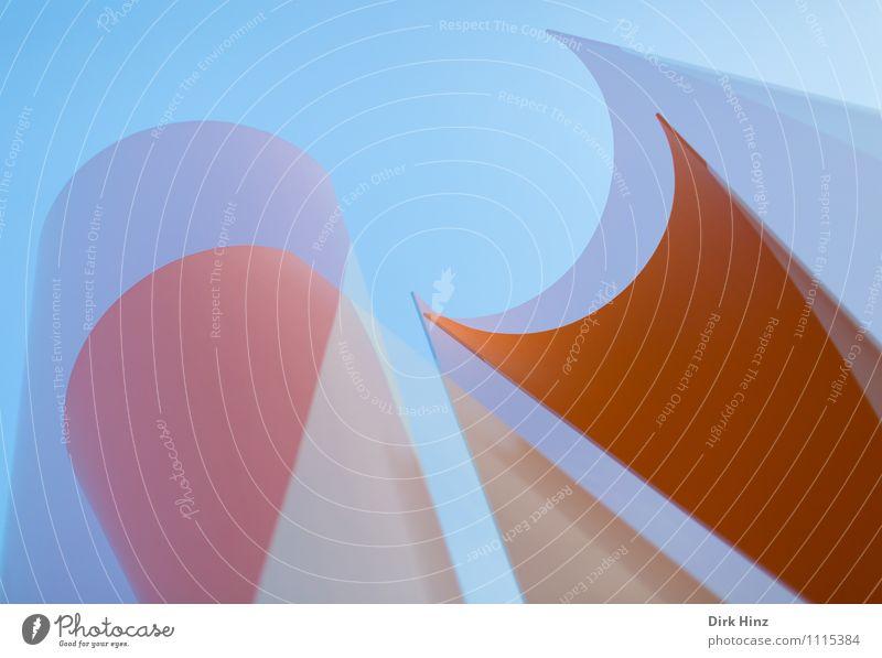 aufstrebend II Kunst Kunstwerk Skulptur Architektur blau orange elegant rund Stil Design Linie ästhetisch außergewöhnlich eckig einfach Doppelbelichtung