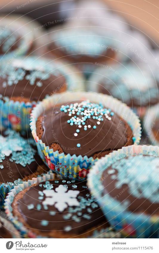 Schokomuffins V blau weiß Essen Feste & Feiern braun Lebensmittel Party Design Geburtstag Ernährung genießen weich süß einzigartig Süßwaren Duft
