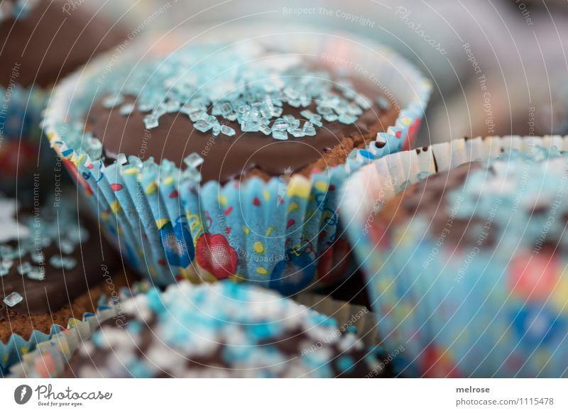 Schokomuffins III blau rot Essen Feste & Feiern braun Lebensmittel Party Design Dekoration & Verzierung frisch Geburtstag Ernährung genießen weich süß