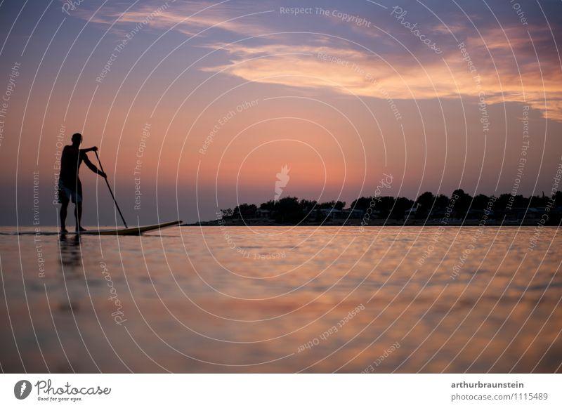 Standup Paddling Mensch Natur Ferien & Urlaub & Reisen Mann blau Wasser Sommer Meer Freude Erwachsene Leben Bewegung Sport Glück maskulin Freizeit & Hobby