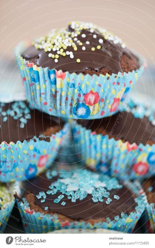 Schokomuffins IV blau rot Essen Feste & Feiern braun Party Design Geburtstag Ernährung genießen weich süß einzigartig Süßwaren Duft Appetit & Hunger