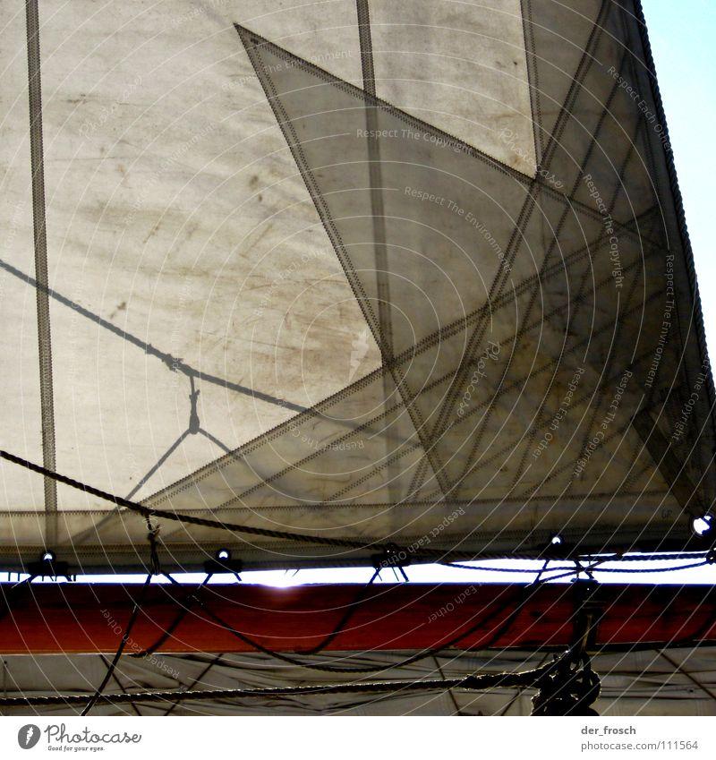 segeltuch weiß Sport Spielen Wasserfahrzeug Wind Seil Segeln Schifffahrt Strommast Fernweh Wassersport Ahoi