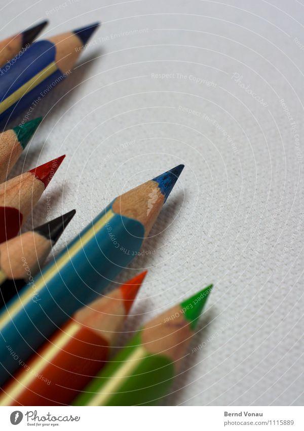 zielstreber Sitzung Schreibwaren Schreibstift Holz Streifen zeichnen ästhetisch hell Sauberkeit Spitze blau grün rot Kreativität Ordnung Farbstift lackiert