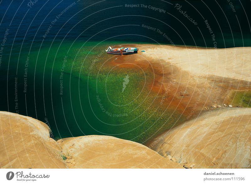 am Ziel See abstrakt Hintergrundbild Sauberkeit Ferien & Urlaub & Reisen Lake Powell Utah grün rot Wasserfahrzeug ruhig Einsamkeit Sommer Abenteuer kommen USA