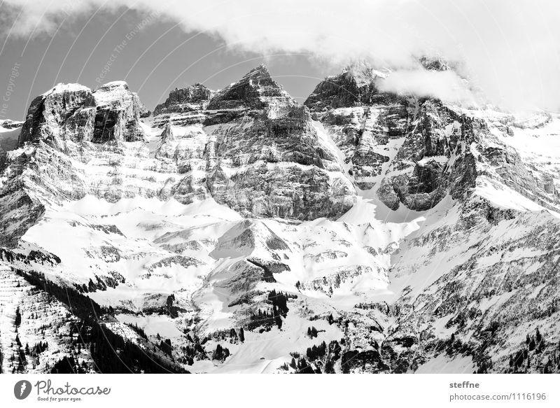 Sommerfrische Frühling Winter Schnee Alpen Berge u. Gebirge Gipfel Schneebedeckte Gipfel Schweiz Kanton Wallis Sport Bergsteigen Klettern dents du midi Felsen