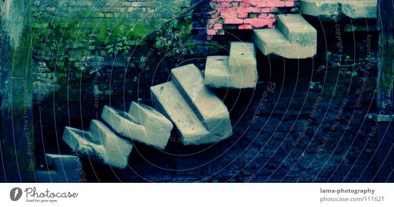 Die Stufen des Erfolgs Treppe aufsteigen Fußtritt Steintreppe Ausweg Steigung Treppenhaus Rampe labil morsch kaputt verfallen Renovieren Moos Glätte Ruine alt