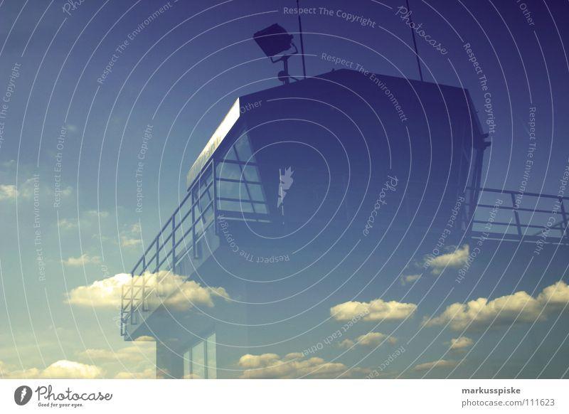 tower Wolken Himmel Gebäude Sicherheit Antenne Funktechnik Ferien & Urlaub & Reisen Luftverkehr spielgelung Reflexion & Spiegelung Flughafen clouds sky