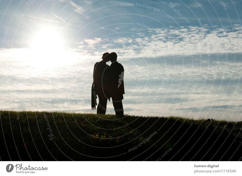 Paar im Gegenlicht Mensch Natur Sonne Liebe feminin Paar maskulin Herz Zusammenhalt
