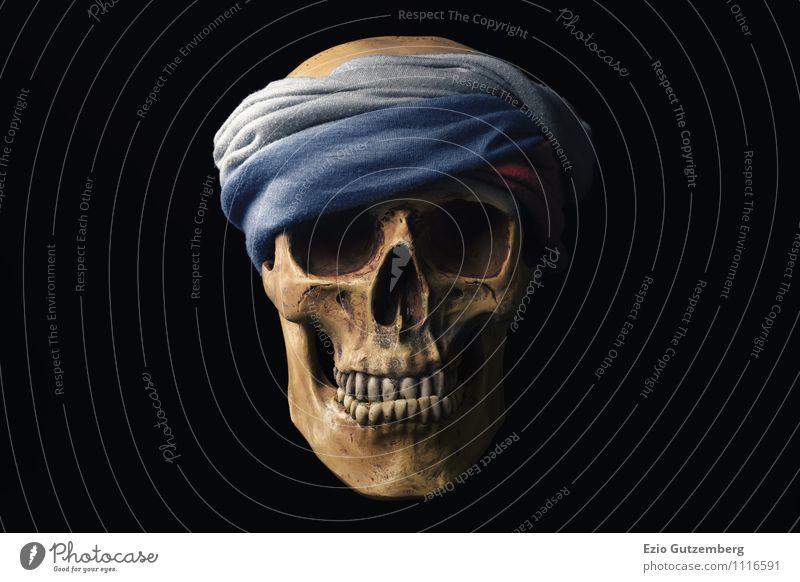 Totenkopf mit russischem Stirnband Mensch gelb Gefühle Tod Hintergrundbild Zeit Kopf Erde Angst gefährlich Europa Zukunft retro Grafik u. Illustration