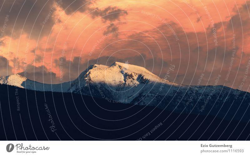 Alpen, Tirol, Schönberg, Stubaital, Österreich Natur Ferien & Urlaub & Reisen Landschaft Wolken Ferne Winter Berge u. Gebirge Umwelt Schnee Freiheit Stimmung Wetter ästhetisch Klima Europa Schönes Wetter