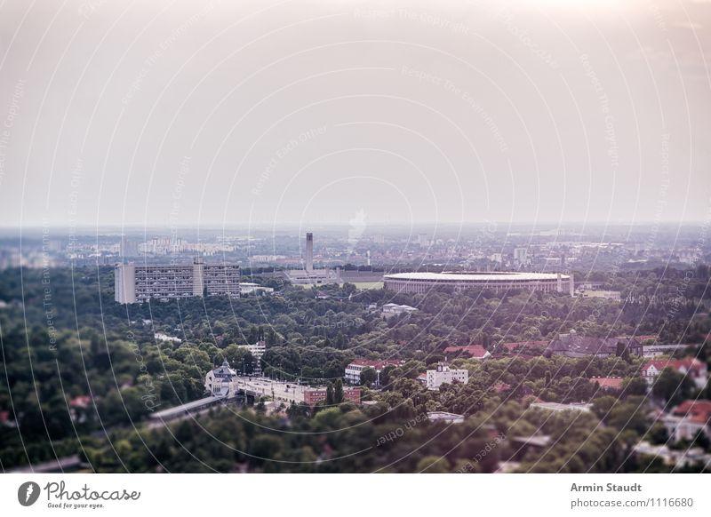 Olympiastadion Berlin Ferien & Urlaub & Reisen Sportstätten Stadion Umwelt Himmel Sonne Sommer Herbst Nebel Park Stadt Skyline Sehenswürdigkeit Wahrzeichen
