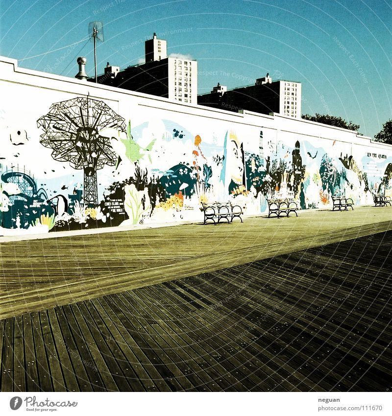 coney island 7 blau Sommer Herbst Wand Holz Mauer Wärme Küste Physik streichen Amerika Gemälde New York City Holzfußboden Haarschnitt