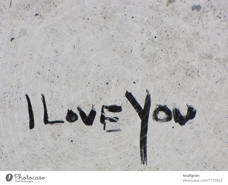 I LovE You Mauer Wand Fassade Schriftzeichen Kommunizieren dreckig Stadt grau schwarz Gefühle Liebe Verliebtheit Partnerschaft I love you Graffiti Farbfoto