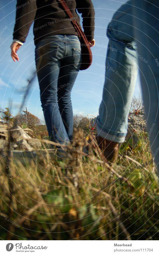 Querfeldein wandern Herbst Wiese Spaziergang über Stock und Stein Beine Jeanshose querfeldein 2 schreiten gehen Gras Detailaufnahme Außenaufnahme Gesäß