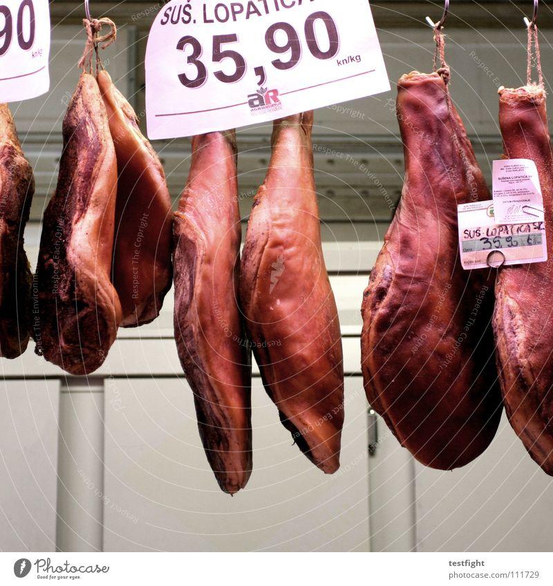 abgehangen rot Ernährung Lebensmittel gut Fett Fleisch Markt Wurstwaren Schinken