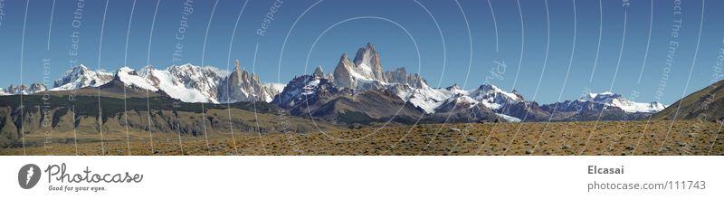 Patagonia - Fitz Roy Himmel Natur blau weiß Ferien & Urlaub & Reisen Schnee Landschaft Freiheit Berge u. Gebirge Luft wandern Reisefotografie Chile Gipfel Panorama (Bildformat) Gletscher