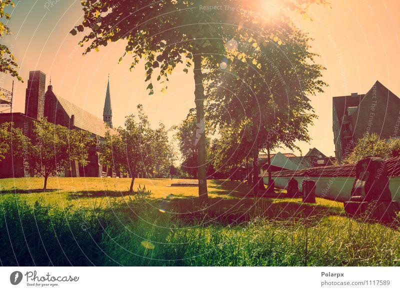 Park mit Sonnenschein Himmel Pflanze grün Sommer Baum rot Landschaft Wolken Architektur Frühling Gras Gebäude Religion & Glaube hell