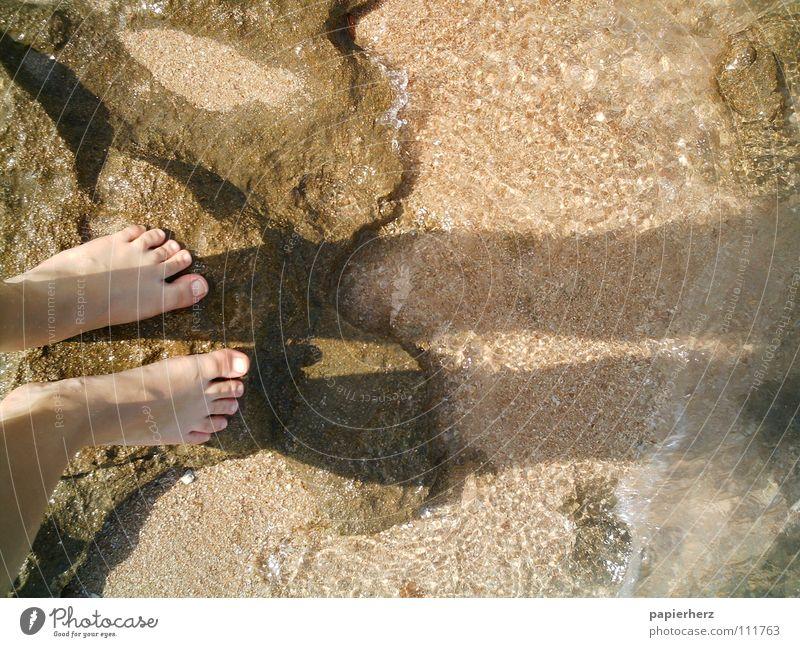 Füße auf einem Felsen Ägypten Strand Meer Wellen Außenaufnahme Küste Fuß Schatten Wasser Stein Freiheit Mensch