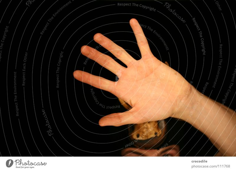 Wolpertinger V Hand dunkel Mund Angst Arme Finger gefährlich bedrohlich Schutz Jagd Horn Hirsche Panik grell frontal Tarnung
