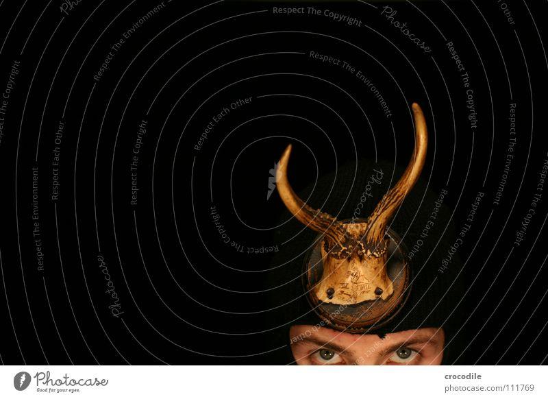 Wolpertinger Vl schwarz Auge dunkel Tod Kopf Konzentration Säugetier Horn Nagel Augenbraue töten Tarnung Sturmhaube Trophäe