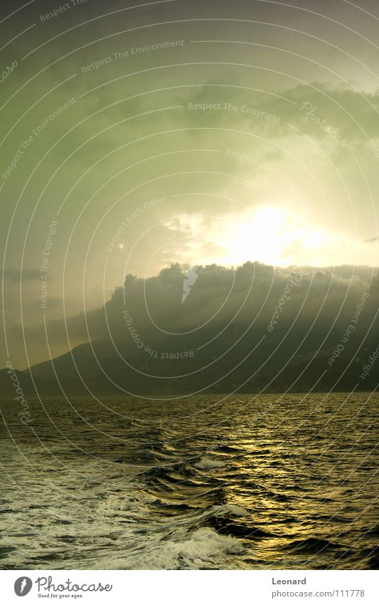 Sonnenuntergang Natur Wasser Himmel Sonne Meer Wolken gelb Berge u. Gebirge Wellen Küste glänzend Italien Schaum Mittelmeer blitzen