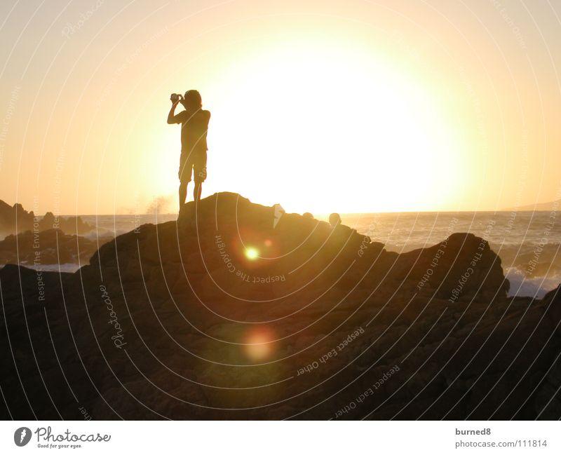 Taking Sunrise Natur Strand Freiheit Küste Felsen Romantik