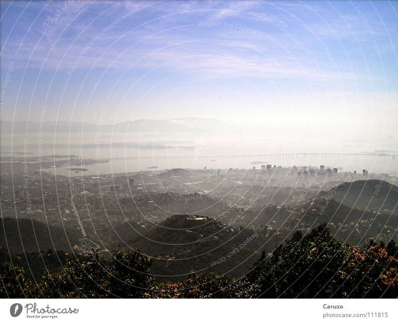 Weitblick Ferne Nebel Wasserdampf Rio de Janeiro Brasilien Physik Sommer grün Strand heiß Schwüle Horizont Stadt Ferien & Urlaub & Reisen Tourismus Hügel Küste