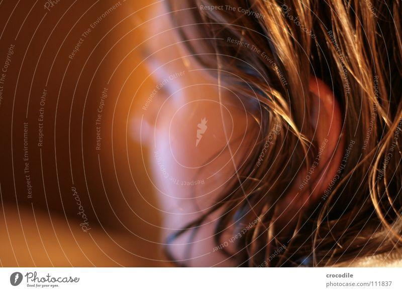 Ohrportrait ;) Frau schön Freude Haare & Frisuren nass Nase Ohr Wange Augenbraue