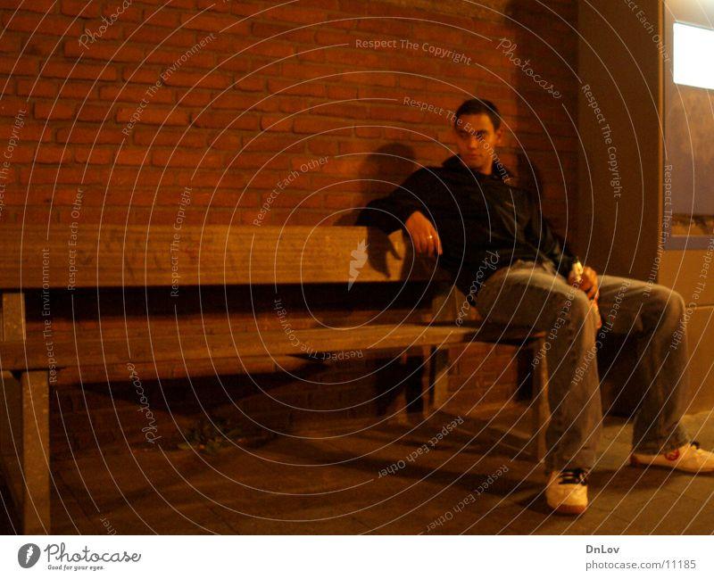 lonely on bench Mann Einsamkeit sitzen Bank Typ Kerl