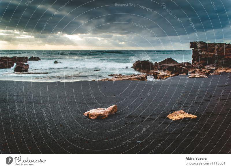 Black Sand Ferien & Urlaub & Reisen Tourismus Ausflug Meer Insel Wellen Natur Landschaft Wasser Himmel Wolken Sonnenlicht Wetter Küste Strand Atlantik berühren