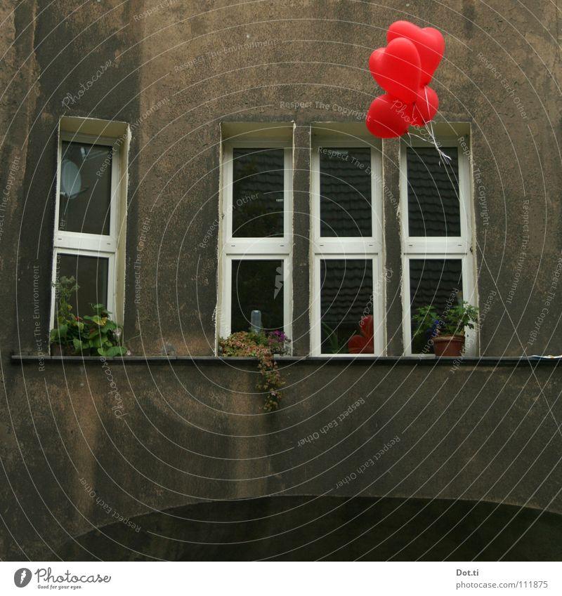 von Herzen Stadt Farbe rot Haus Fenster Gefühle grau Fassade Häusliches Leben trist Geburtstag Schnur Hoffnung Luftballon Symbole & Metaphern