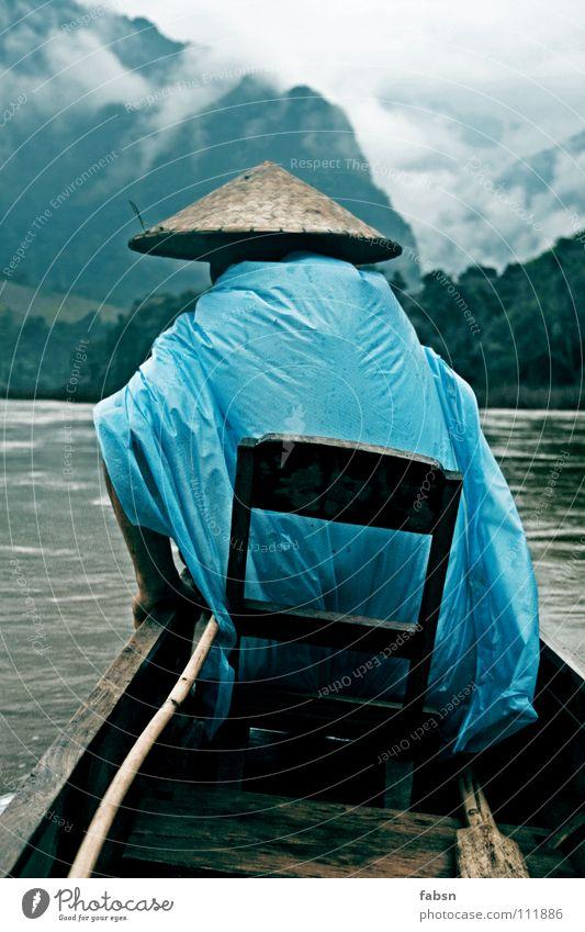 VOLLMOND II Wasser Wolken Berge u. Gebirge Holz Wasserfahrzeug Regen Fluss einfach Schutz Asien Hut Urwald aufwärts Bach schlechtes Wetter Plastiktüte