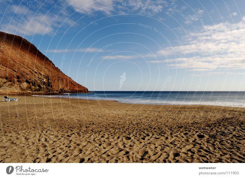 The lonely beach Himmel Meer Sommer Strand Ferien & Urlaub & Reisen Einsamkeit Erholung Berge u. Gebirge Sand Zufriedenheit Wellen Kanaren Teneriffa