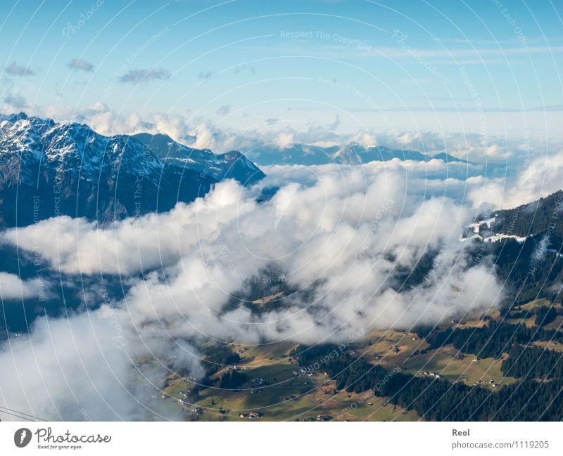 Grünes Tal Umwelt Natur Landschaft Urelemente Frühling Winter Wetter Schönes Wetter Schnee Wald Alpen Berge u. Gebirge Gipfel Schneebedeckte Gipfel