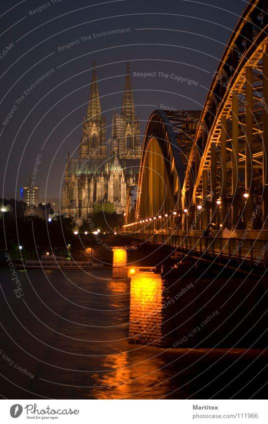 "Postkarte ""Köln"" Kölner Dom Hohenzollernbrücke Nacht Brücke Rhein Kathedrale"