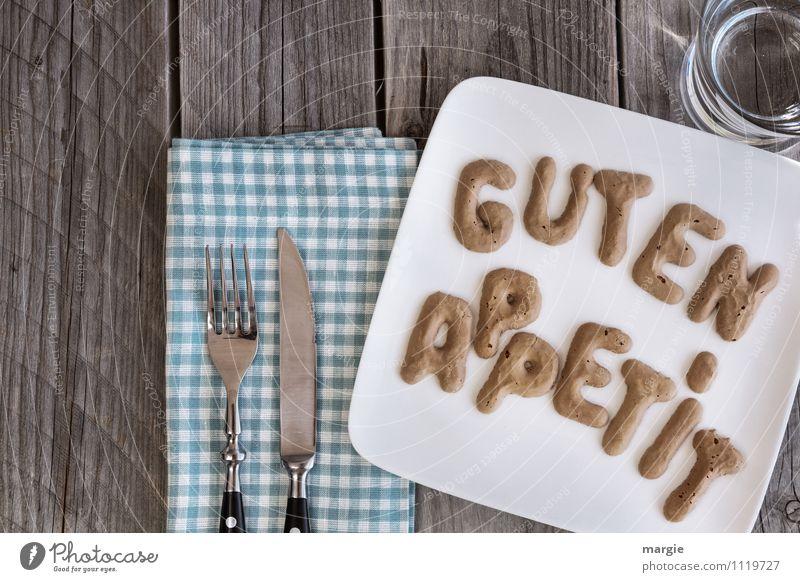 Guten Appetit blau Wasser Gesunde Ernährung Essen Lebensmittel Glas Trinkwasser Getränk Freundlichkeit Buchstaben Wunsch Frühstück Appetit & Hunger Teller